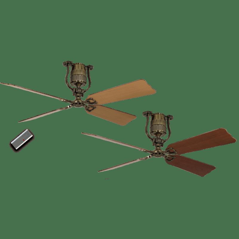 Ventilateur de plafond vintage moteur laiton pales 152 cm ceriser et hêtre moteur dc télécommande