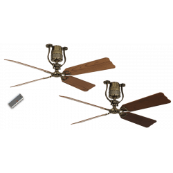 Ceiling Fan, vintage, 152 Cm. brass cherry and beech blades, DC motor, remote control, Roadhouse MA-KB CASAFAN