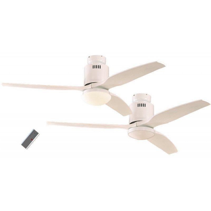 Ventilatore Da Soffitto Dc 132 Cm Laccato Bianco Pale Bianche In Legno Con Luce E Telecomando Casafan Aerodynamix