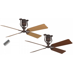 Vintage ceiling fan motor bronze blades 152 Cm cherry and beech engine DC, remote control, Roadhouse BA-KB CASAFAN