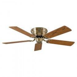 Ventilateur de plafond, Classic Flat, 132 Cm, Ultra plat, silencieux, pales chêne - hêtre et laiton antique, CASAFAN