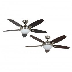 ceiling fan with light, quiet, modern brushed chrome 132 cm Hunter Contempo.