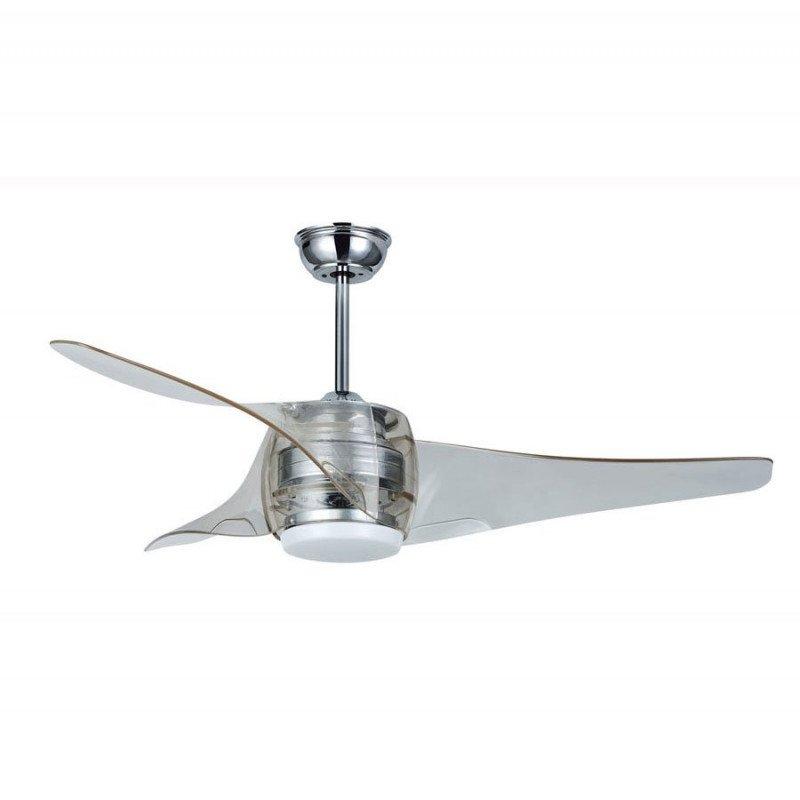 Ventilateur de plafond design 127 Cm avec lampe led télécommande réversible chrome brossé et acrylique.