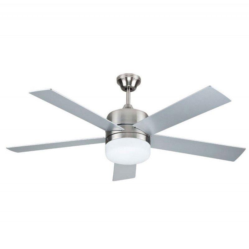 Ventilateur de plafond moderne 132 Cm avec lampe led télécommande réversible pales grise ou teck