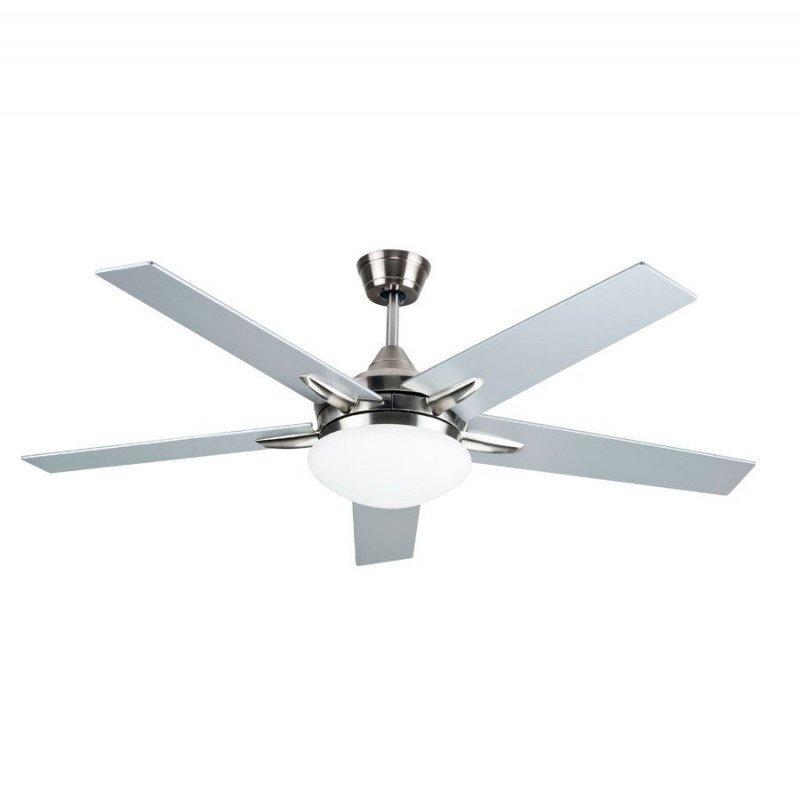 Ventilateur de plafond moderne 132 Cm avec lampe led télécommande réversible pales grise ou noyer