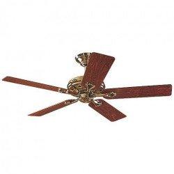 Ventilateur de plafond Savoy Hunter laiton poli et pales bois rose ou chêne, silencieux, 132cm