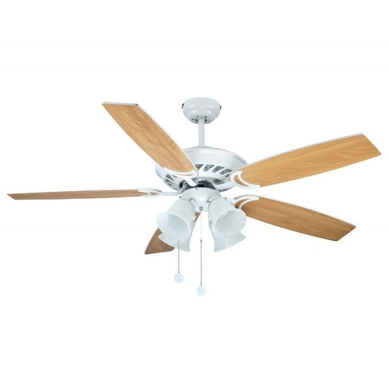 White ceiling fan, blades white /maple, 132 Cm silent 4 tulips E27 60 Watts