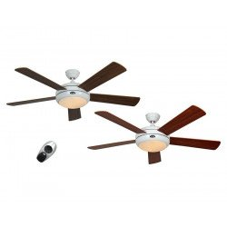 ceiling fan, design, silent 132 Cm, remote control, white lacquer color blades Walnut / Cherry. CASAFAN Titanuim