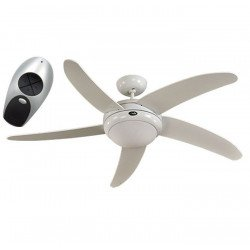 ceiling fan, quiet design 132 Cm white lacquer white blades with lamp, CASAFAN Elica WE-AH