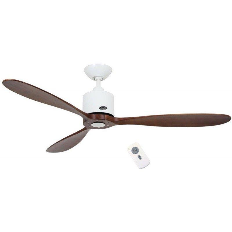 Ventilateur de plafond DC, moderne 132 Cm chrome brossé, pales noyer massif, télécommande, CASAFAN Eco Aeroplan BN