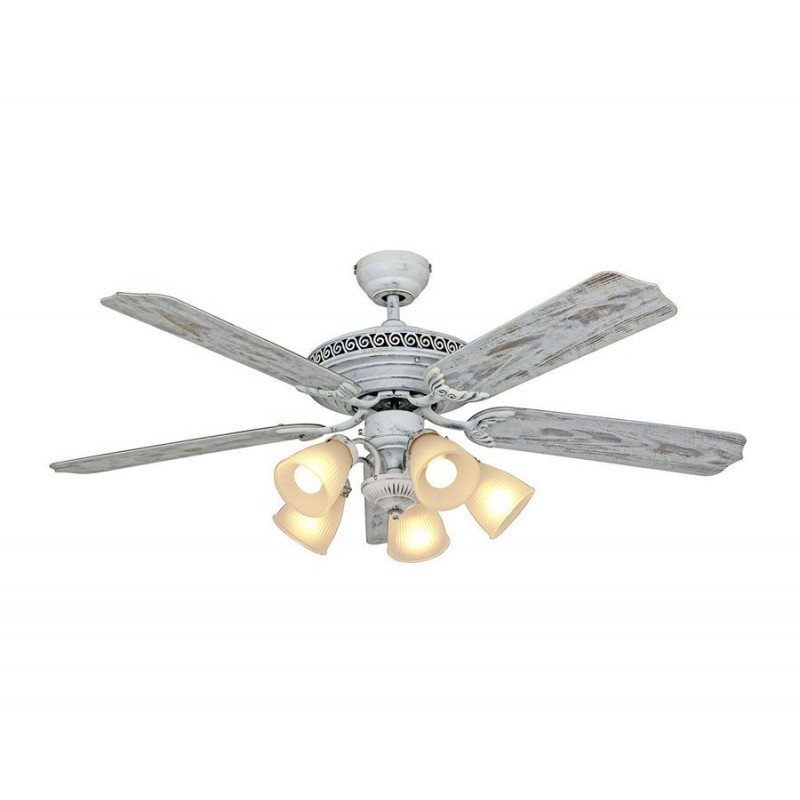 classic white lacquered ceiling fan blades aged birch with light 132 cm Casafan Centurion 513,212