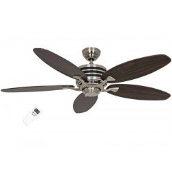 modern ceiling fan Eco Gamma, 132 Cm,blades black / dark wenge brushed stainless steel motor, remote control