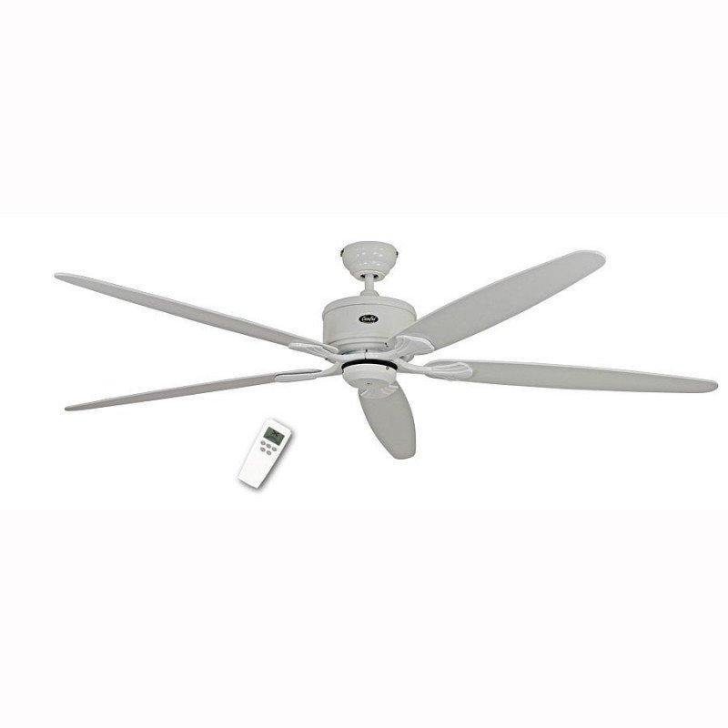 Ventilateur de plafond DC 180 Cm, Eco Elements WZ, Blanc laqué, pales blanches et grises, télécommande
