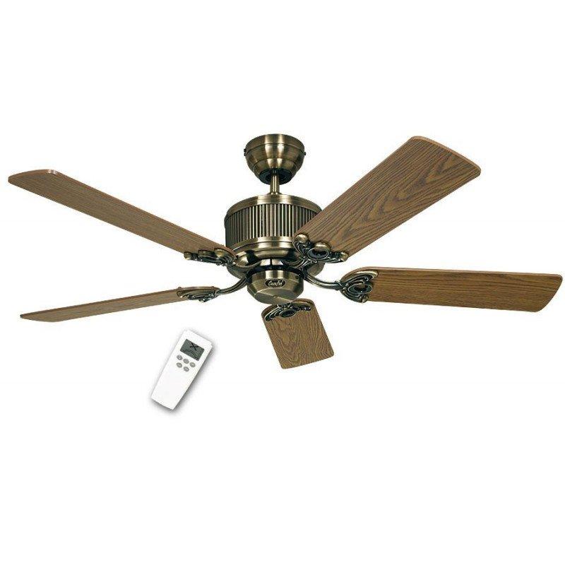 Ventilateur de plafond DC 132 Cm, Eco Elements BA, laiton antique, pales chêne vieilli et Hêtre, télécommande