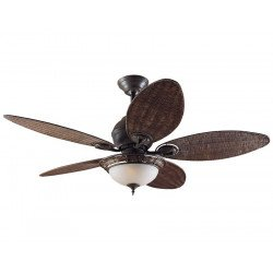 Ventilateur de plafond Hunter Caribean Dream Bronze patiné pales osier avec luminaire 137 cm