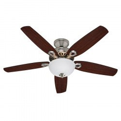 Builder Delux BN un Ventilateur de plafond chrome, pales bifaces noyer / cerisier 132 Cm silencieux un verre opal, Hunter