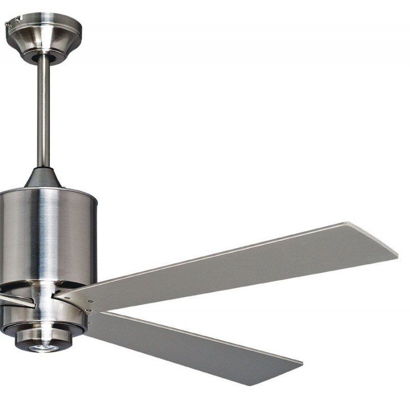 Ventilateur de plafond design klassfan cm chrome brossé lampe LED, télécommande