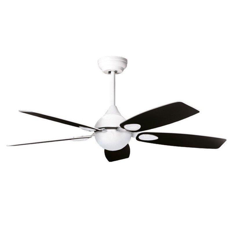 Mistral de Purline by Klassfan blanc un ventilateur de plafond silencieux, design pour pièces moyennes de 15 à 25 m²