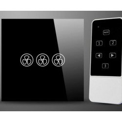 Wall switch with remote control for ceiling fans without light, glass, soft touch, black
