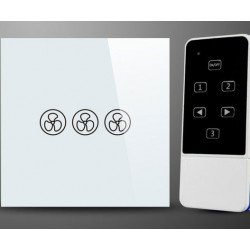 Wall switch with remote control for ceiling fans without light, glass, soft touch, white