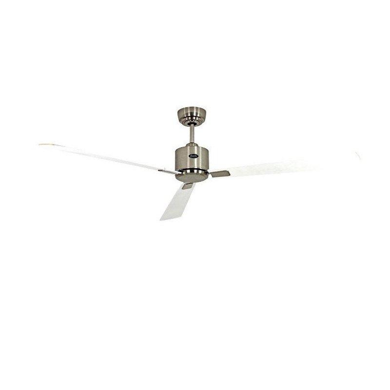 Ventilateur de plafond DC, moderne 152 Cm Chrome brossé pales laquées blanches, grises, télécommande, CASAFAN Eco Neo II WE