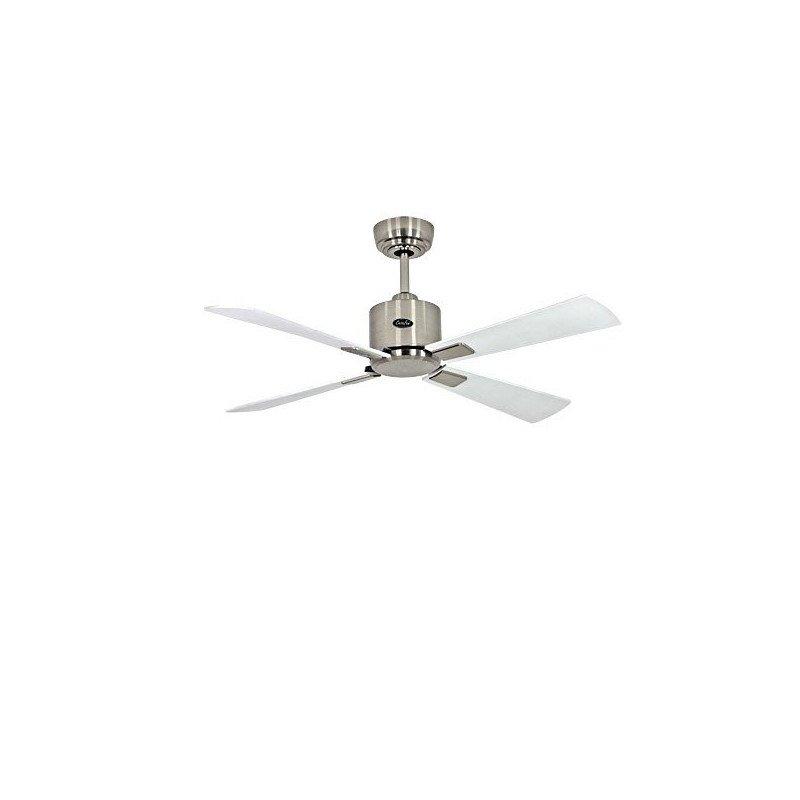 Ventilateur de plafond DC, moderne 103 Cm Chrome brossé pales laquées blanches, grises, télécommande, CASAFAN Eco Neo II WE