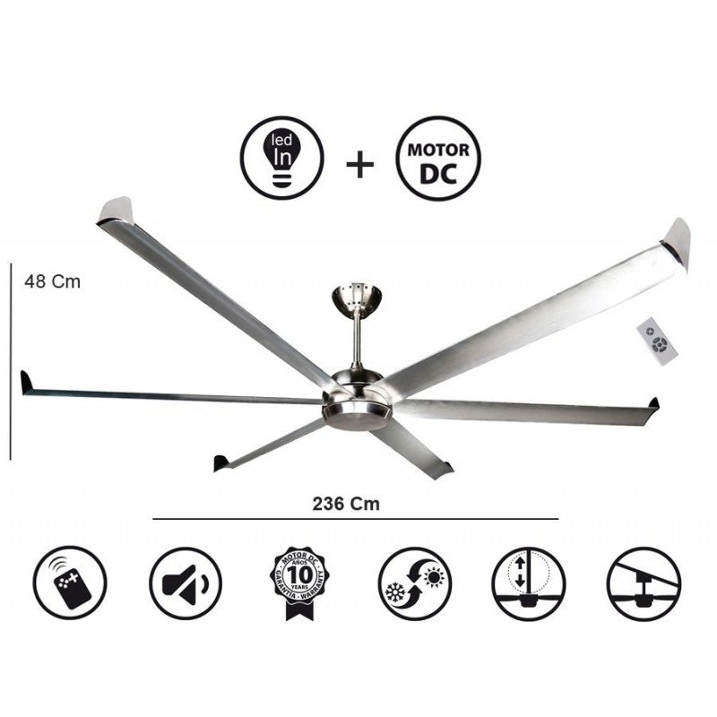 Ceiling fan, modern, large DC 220 cm, white lacquer, CASAFAN BIG SMOOTH TS