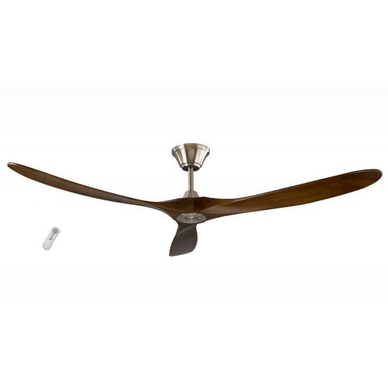 Ventilateur de plafond design 155 Cm avec pales noyer lamellé collé chrome TAURUS de LBA HOME