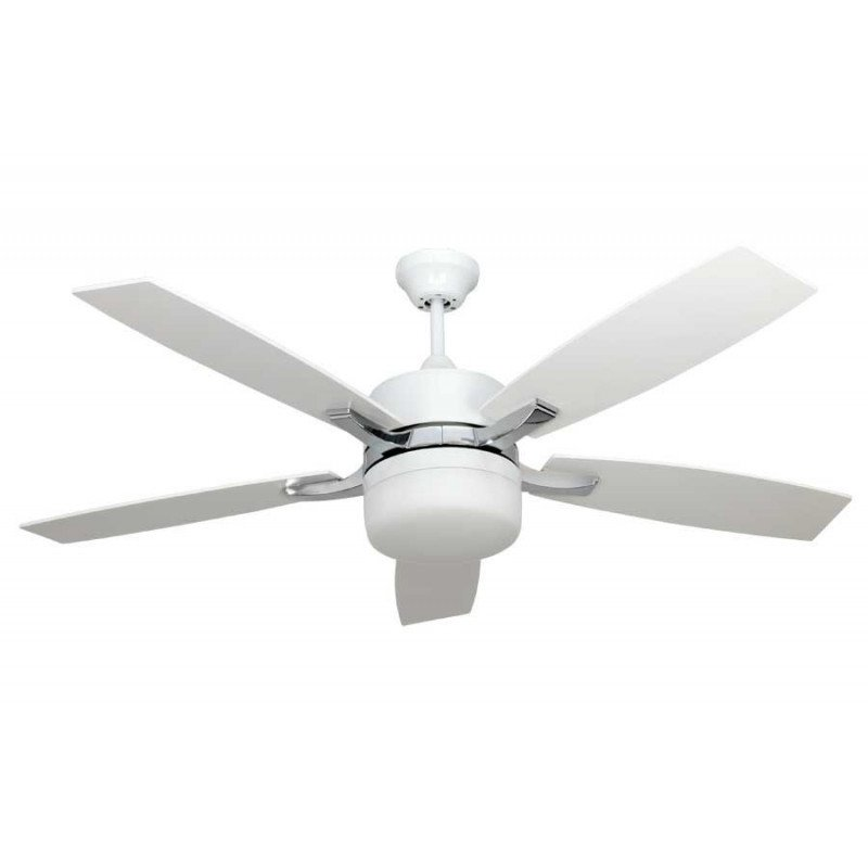Ceiling Fan Modern White And Nickel 132 Cm With Light Powerful