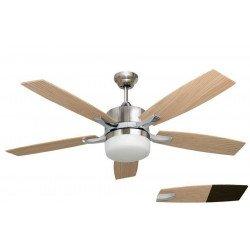 Ventilateur de plafond GRANDE TAILLE chrome et pin / vengé 132 Cm avec luminaire puissant télécommande.