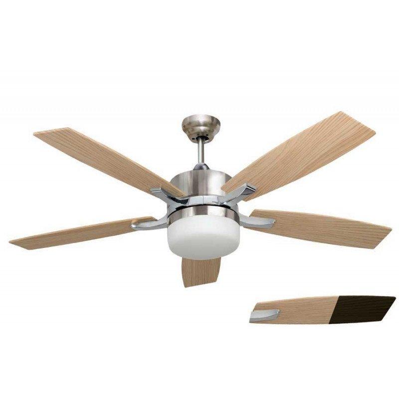 Ventilateur de plafond moderne avec lumière, telecommande couleur chrome et pales pins LBA HOME
