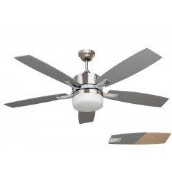 Ventilateur de plafond moderne avec lumière, telecommande couleur chrome et pales gris argent LBA HOME
