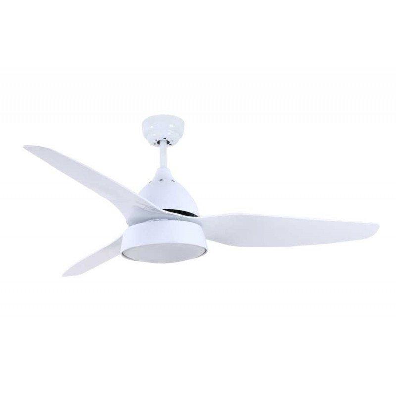 Ventilateur de plafond moderne avec lumière, telecommande couleur blanc et pales blanches