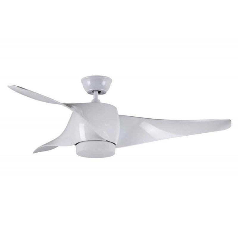 Ventilateur de plafond design avec lumière led, telecommande couleur blanc.