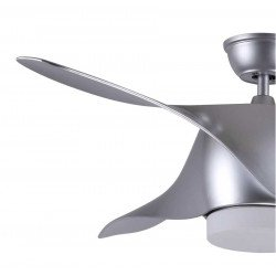 Designer ceiling fan 132 Cm with led light and remote control, silver color.