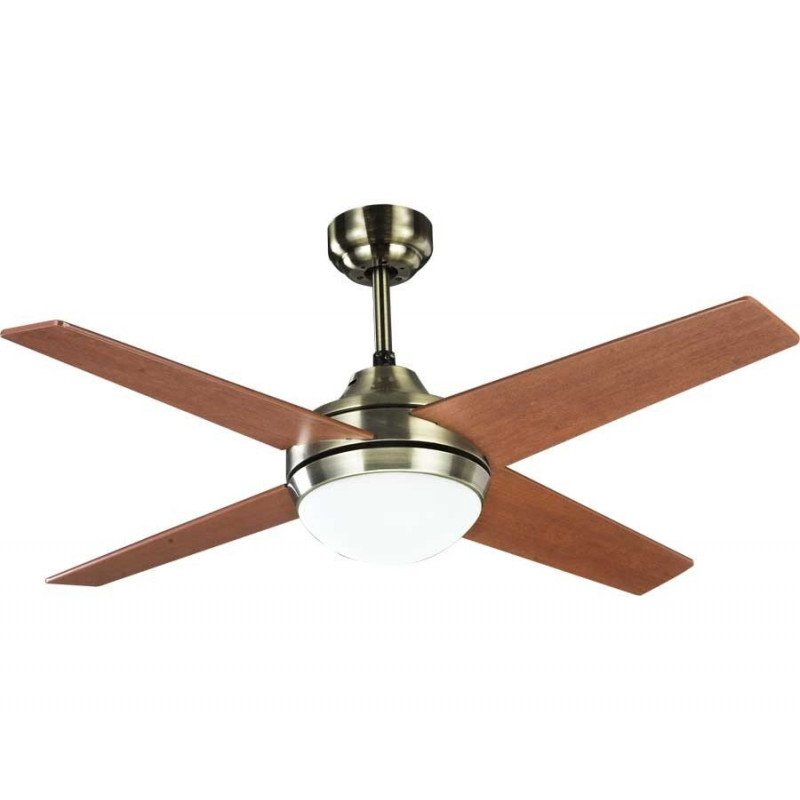 Elysa cherry, ceiling fan 112 Cm body brass, and cherry / walnut blades, with light , and remote control