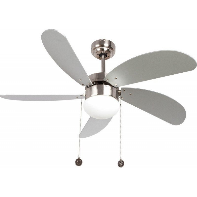 Ceiling fan 107 cm with integrated lamp - LIBE SILVER - Silver blades.