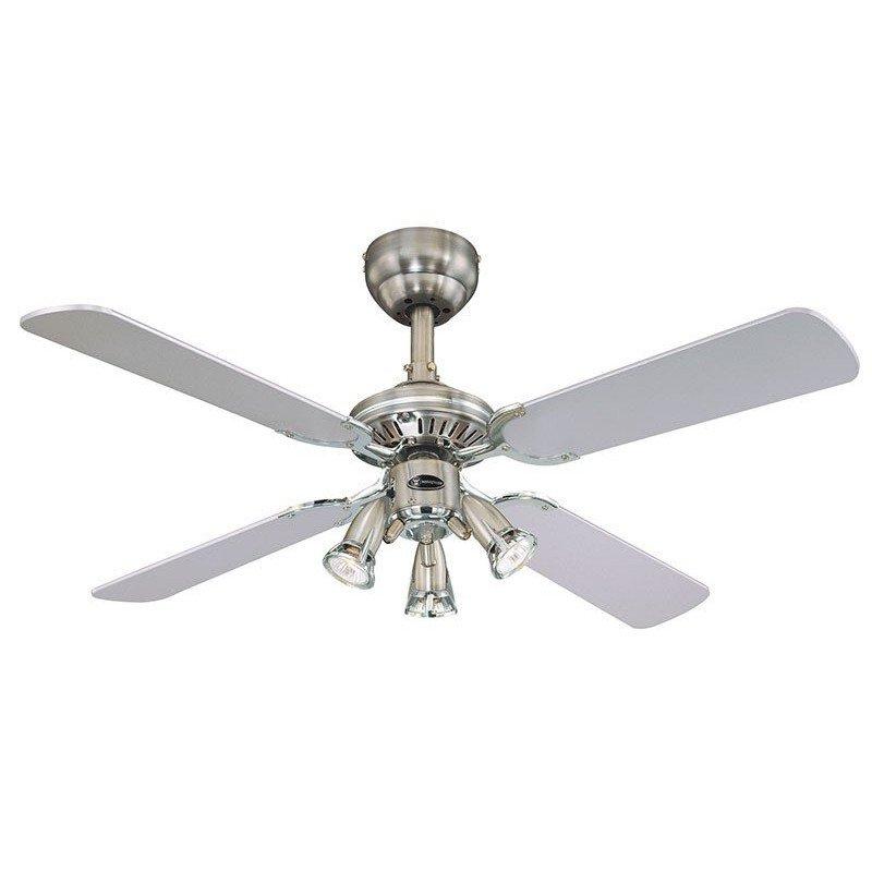 Ceiling Fan, 105 cm, 3 directable spotlights, reversible blades black / gray