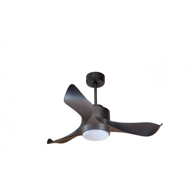 Modulo de KlassFan - Ventilateur DC de plafond avec Lumière gris basalte et bois idéal pour 20 à 30 m² KL_DC1_P1Wo
