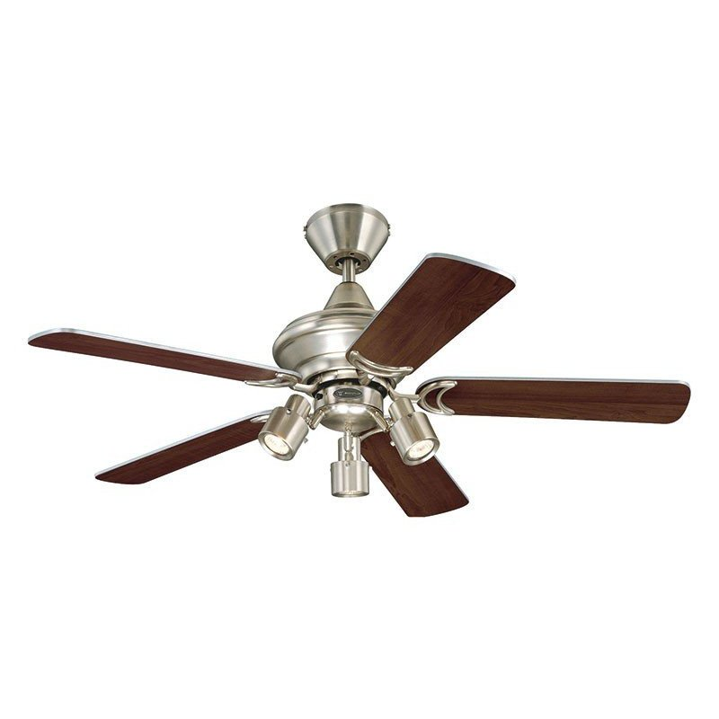 Ceiling Fan 105 cm. lamp, double-sided blades, aged oak / silver.