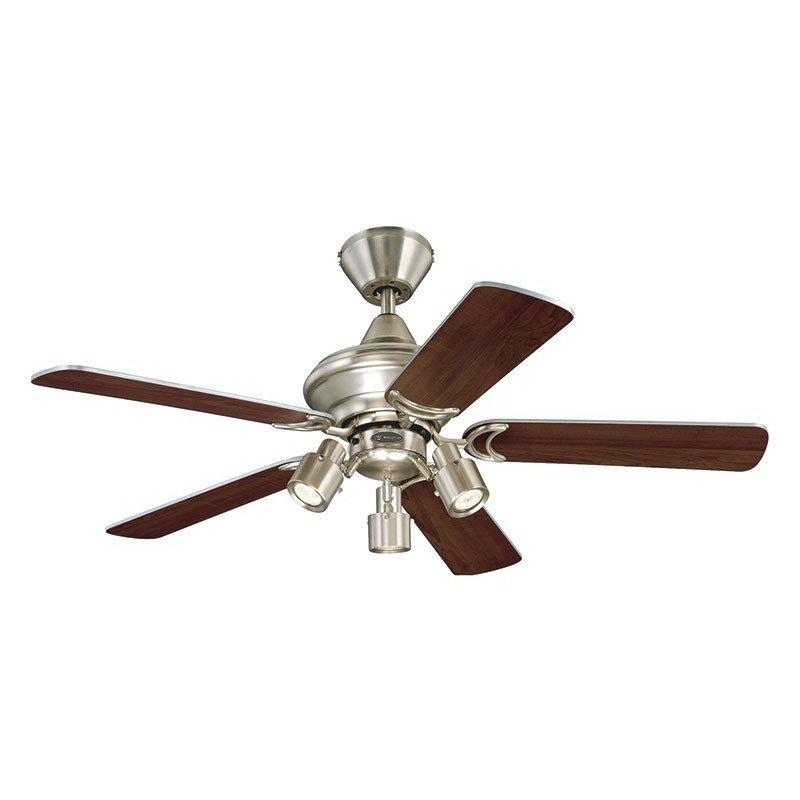 Ventilateur de plafond 105 cm, avec lampe, pales bi faces chêne vieilli et argent.