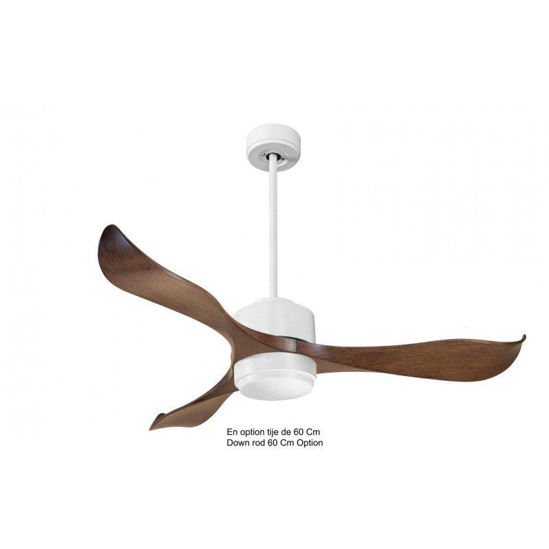 Modulo de KlassFan - Super déstratificateur d'air, avec Lumière Blanc laqué et bois idéal pour 25 à 40 m² KL_DC4_P2WoL1Wi