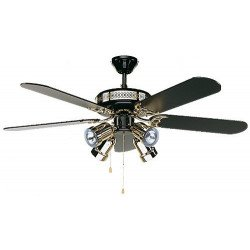 Ceiling Fan, Black magic, classic 132cm, lacquered black and gold, black blade, lamp, CASAFAN
