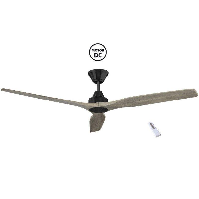 Soft de KlassFan un ventilateurs de plafond DC design basalte avec pales chêne claires grande taile