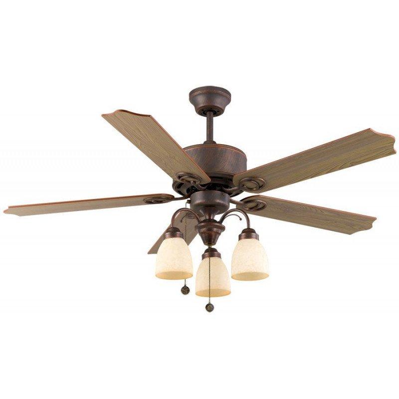 Ventilateur de plafond 122 cm, 3 spots puissants, classique boitier bronze vieilli