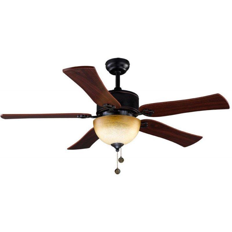 Ventilateur de plafond 120 cm, point lumineux puissant , noir et bronze vieilli et pales texture cerisier