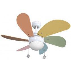 Ventilateur de plafond 85 cm, avec point lumineux, pales multicolores pastel pour enfants.