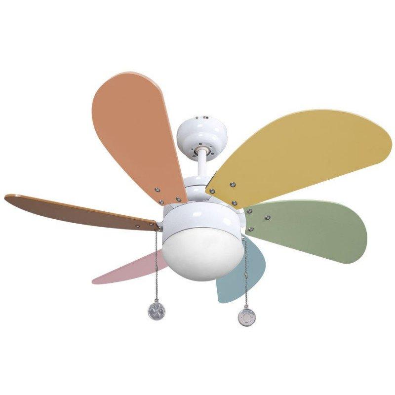 Ventilateur de plafond 85 cm, avec point lumineux, pales multicolores.