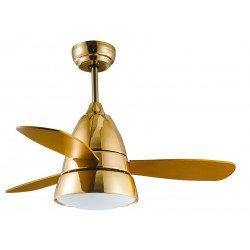Ventilateur de plafond moderne silencieux 107 cm doré télécommande