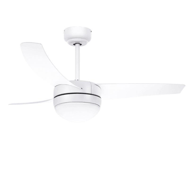 Ventilateur de plafond moderne blanc 107 cm avec lampe,télécommande IR,